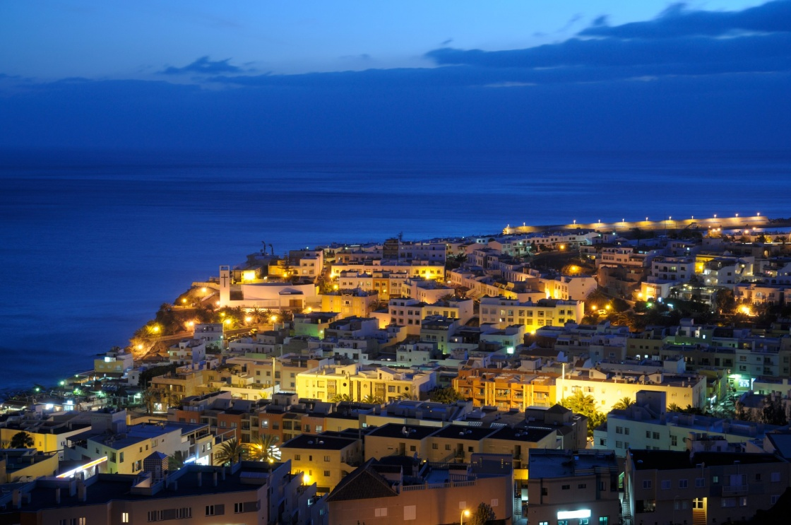 'Town Morro Jable at night. Canary Island Fuerteventura, Spain' - Fuerteventura